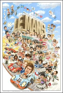 Cartoon of the Cast & Crew of Le Mans