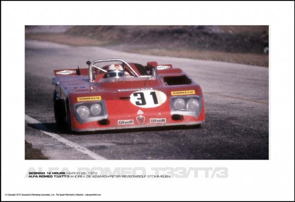 ALFA ROMEO T33/TT/3 ANDREA DE ADAMICH/PETER REVSON/ROLF STOMMELEN – SEBRING 12 HOURS MARCH 25, 1972