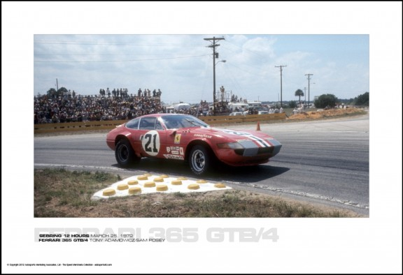 FERRARI 365 GTB/4 TONY ADAMOWICZ/SAM POSEY – SEBRING 12 HOURS MARCH 25, 1972