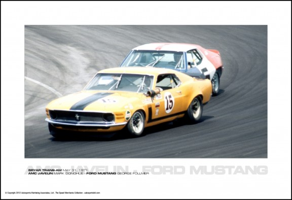 AMC JAVELIN MARK DONOHUE – FORD MUSTANG GEORGE FOLLMER – BRYAR TRANS-AM MAY 31, 1971
