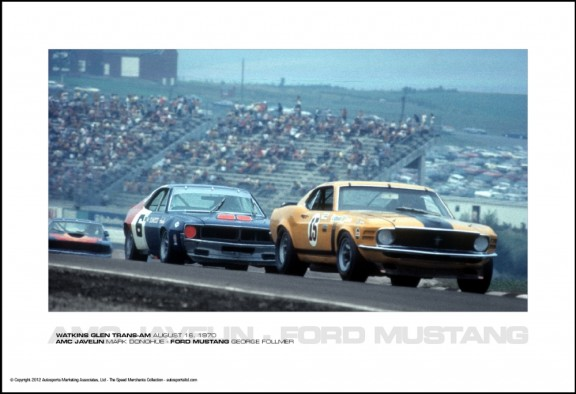 AMC JAVELIN MARK DONOHUE – FORD MUSTANG GEORGE FOLLMER – WATKINS GLEN TRANS-AM AUGUST 16, 1970