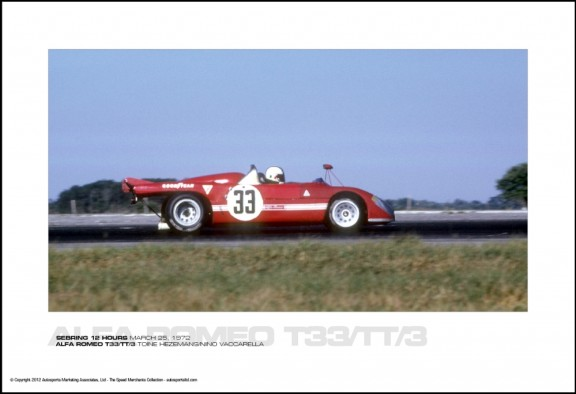 ALFA ROMEO T33/TT/3 TOINE HEZEMANS/NINO VACCARELLA – SEBRING 12 HOURS MARCH 25, 1972