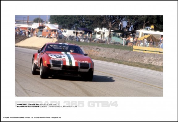 FERRARI 365 GTB/4 BOBBY CARRADINE/JOHN MORTON – SEBRING 12 HOURS MARCH 19, 1977