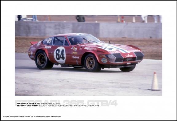 FERRARI 365 GTB/4 ELLIOTT FORBES-ROBINSON/MILT MINTER/PAUL NEWMAN – DAYTONA 24 HOURS FEBRUARY 6, 1977