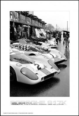PORSCHE 917K JACKIE OLIVER/PEDRO RODRIGUEZ – DEREK BELL/JO SIFFERT – MONZA 1000 KMS APRIL 25, 1971
