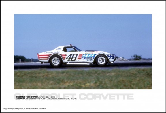 CHEVROLET CORVETTE JOHN GREENWOOD/DICK SMOTHERS – SEBRING 12 HOURS MARCH 25, 1972
