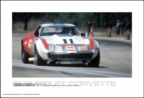 CHEVROLET CORVETTE TONY DE LORENZO/JERRY THOMPSON/DON YENKO – SEBRING 12 HOURS MARCH 20, 1971