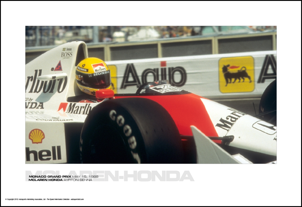mclaren honda ayrton senna monaco grand prix may 15 1988 autosports marketing associates ltd. Black Bedroom Furniture Sets. Home Design Ideas